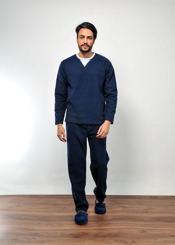 Pijama Masculino Longo em Microsoft Marinho