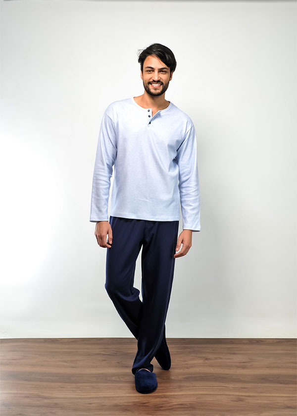 Pijama Masculino Longo em Suedine Polo
