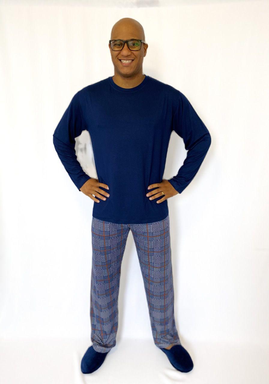 Pijama Masculino Longo em Viscolycra Azul