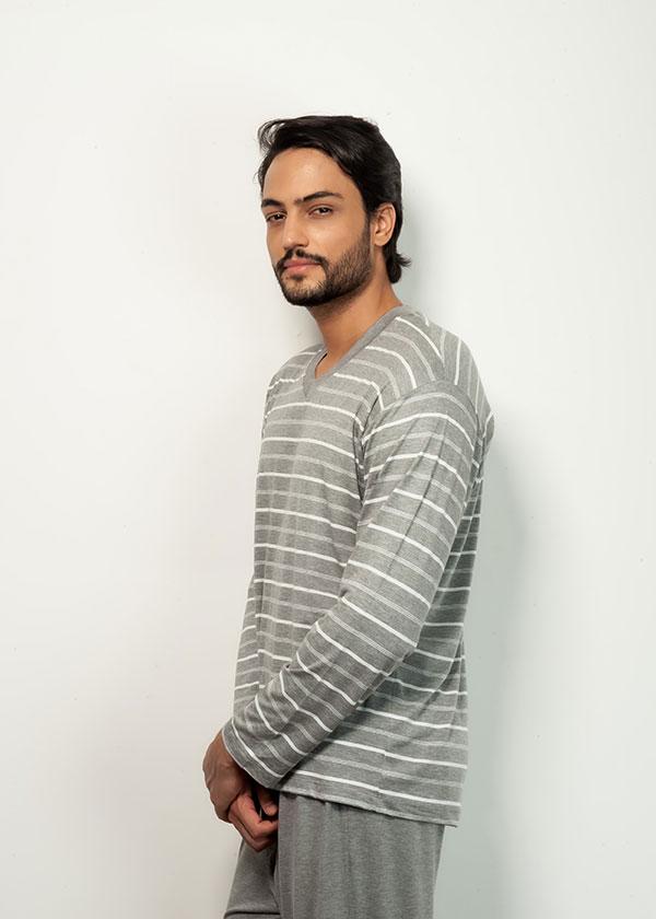 Pijama masculino longo listrado Mescla