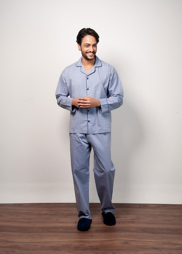 Pijama Masculino Longo Quadriculado Azul Claro