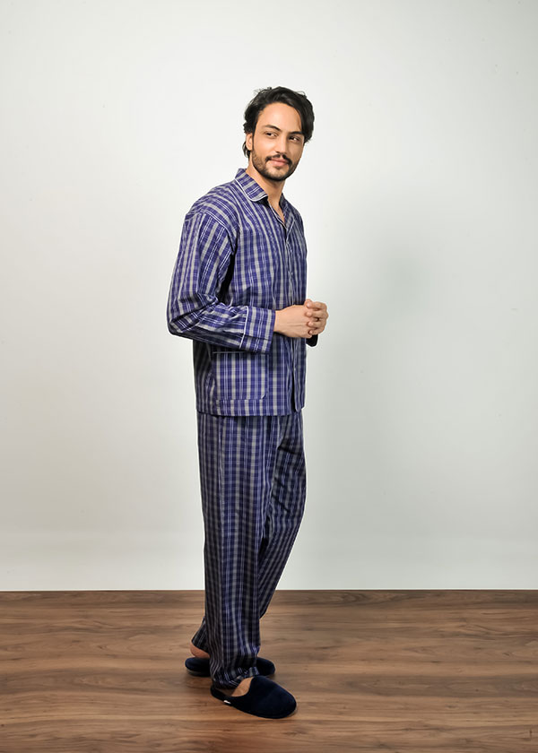 Pijama Masculino Longo Xadrez Azul Marinho
