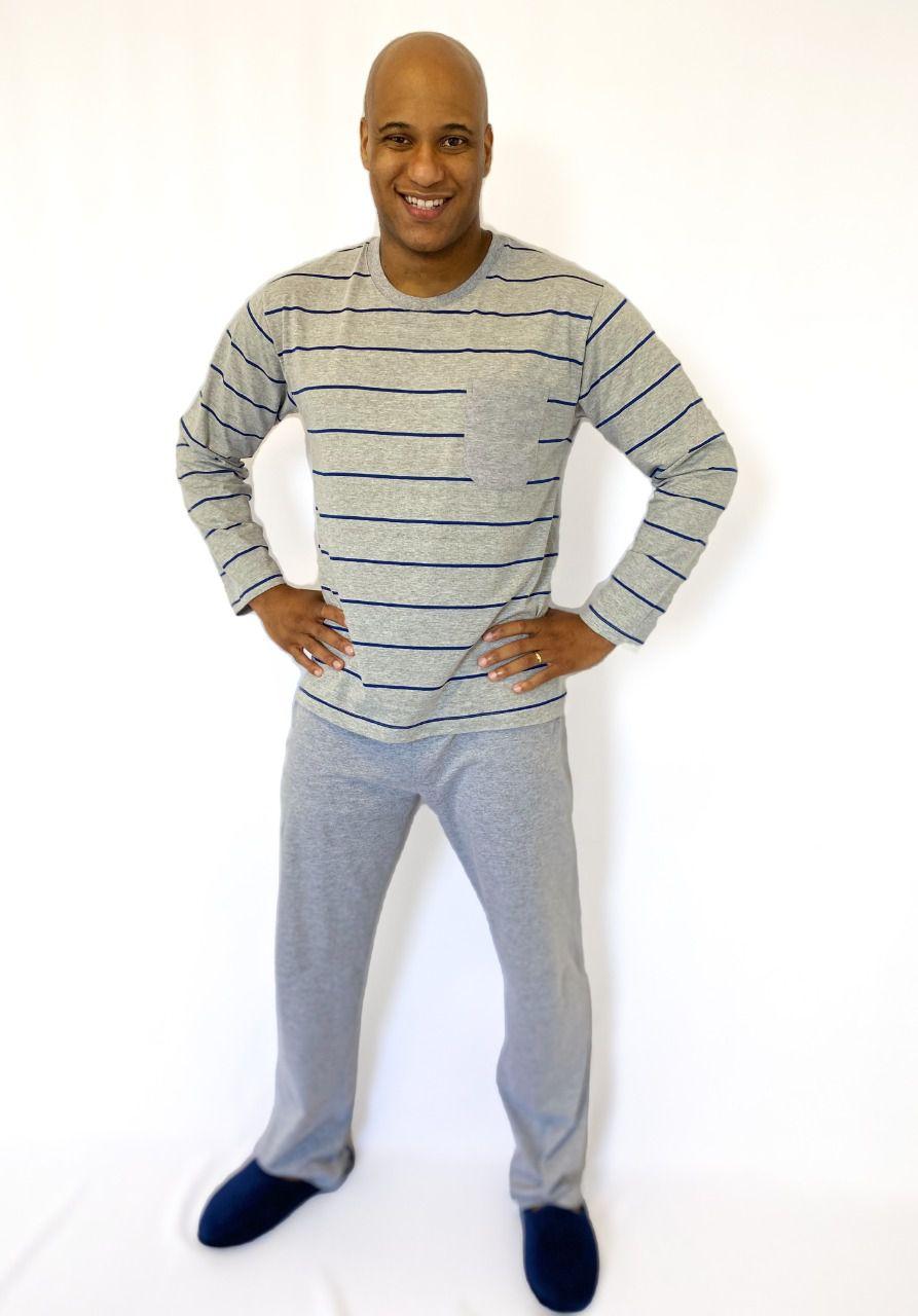 Pijama Masculino Longo Meia Malha Listrado
