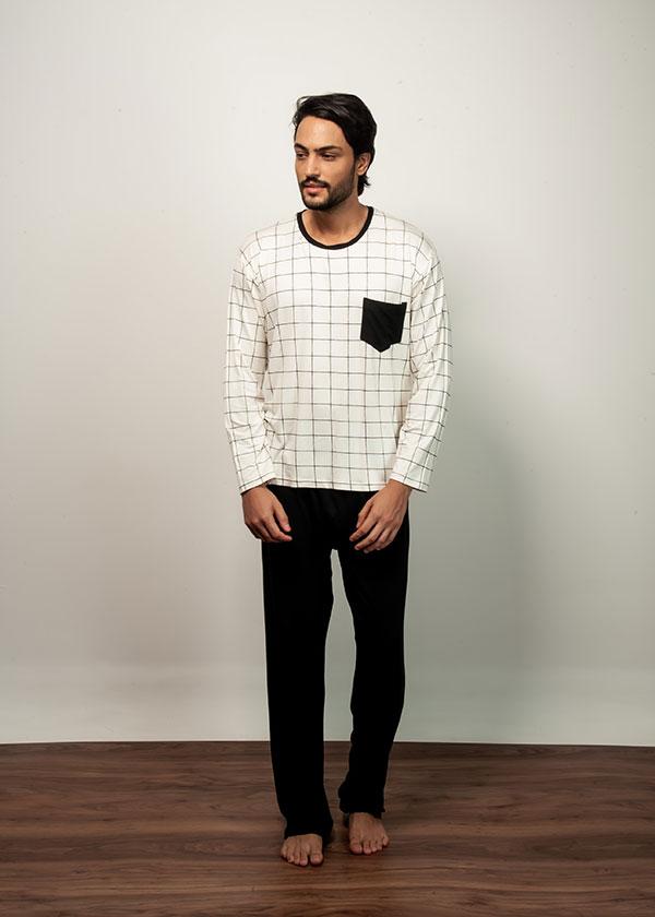 Pijama Masculino Quadriculado Preto e Branco