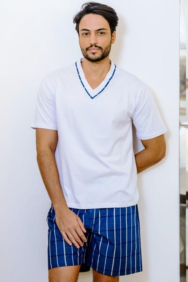Pijama Masculino Short de Algodão Listrado