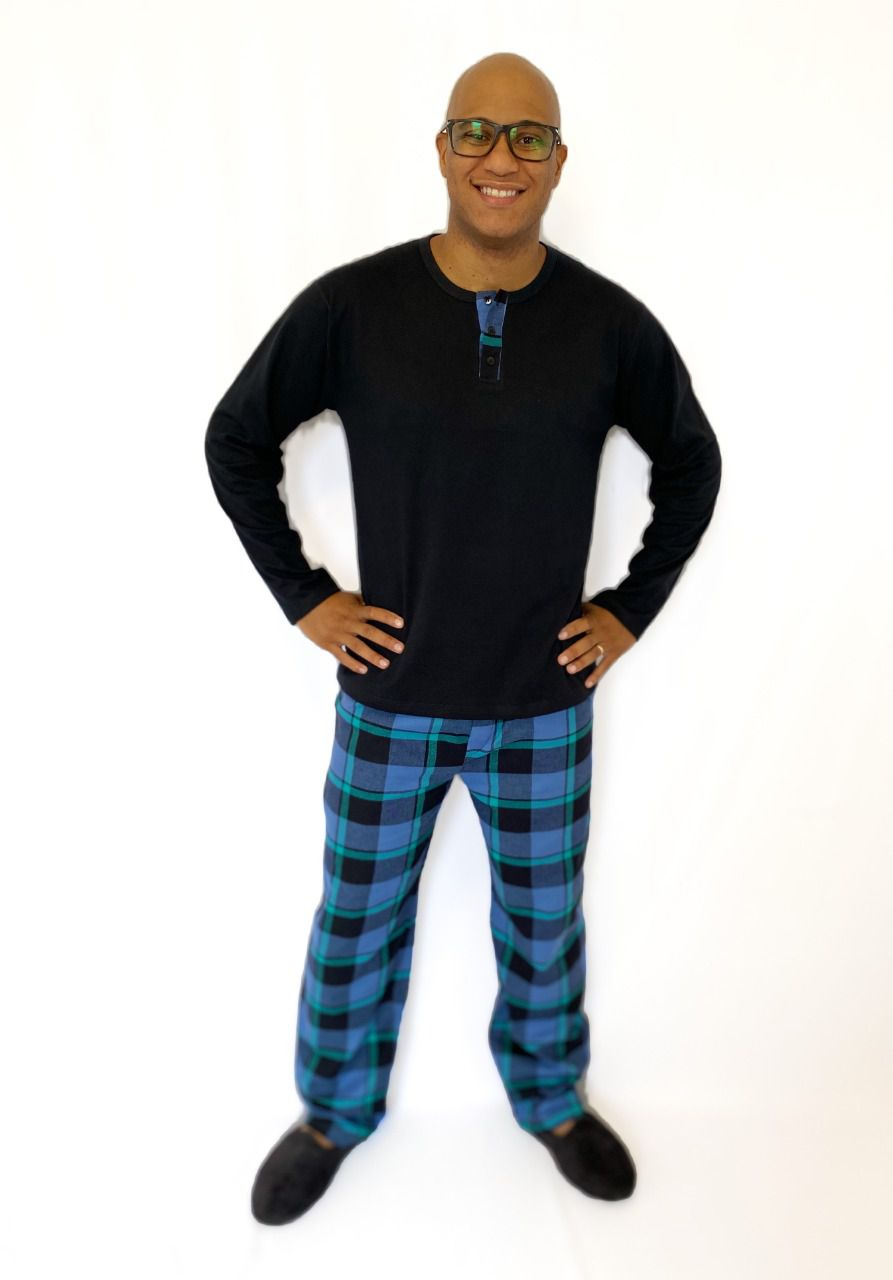 Pijama Masculino Longo Xadrez Preto e Azul