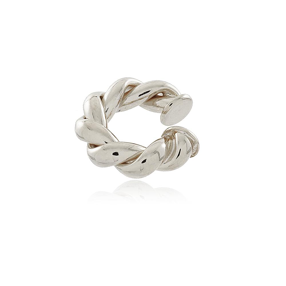Piercing de pressão com design de corda em ouro branco