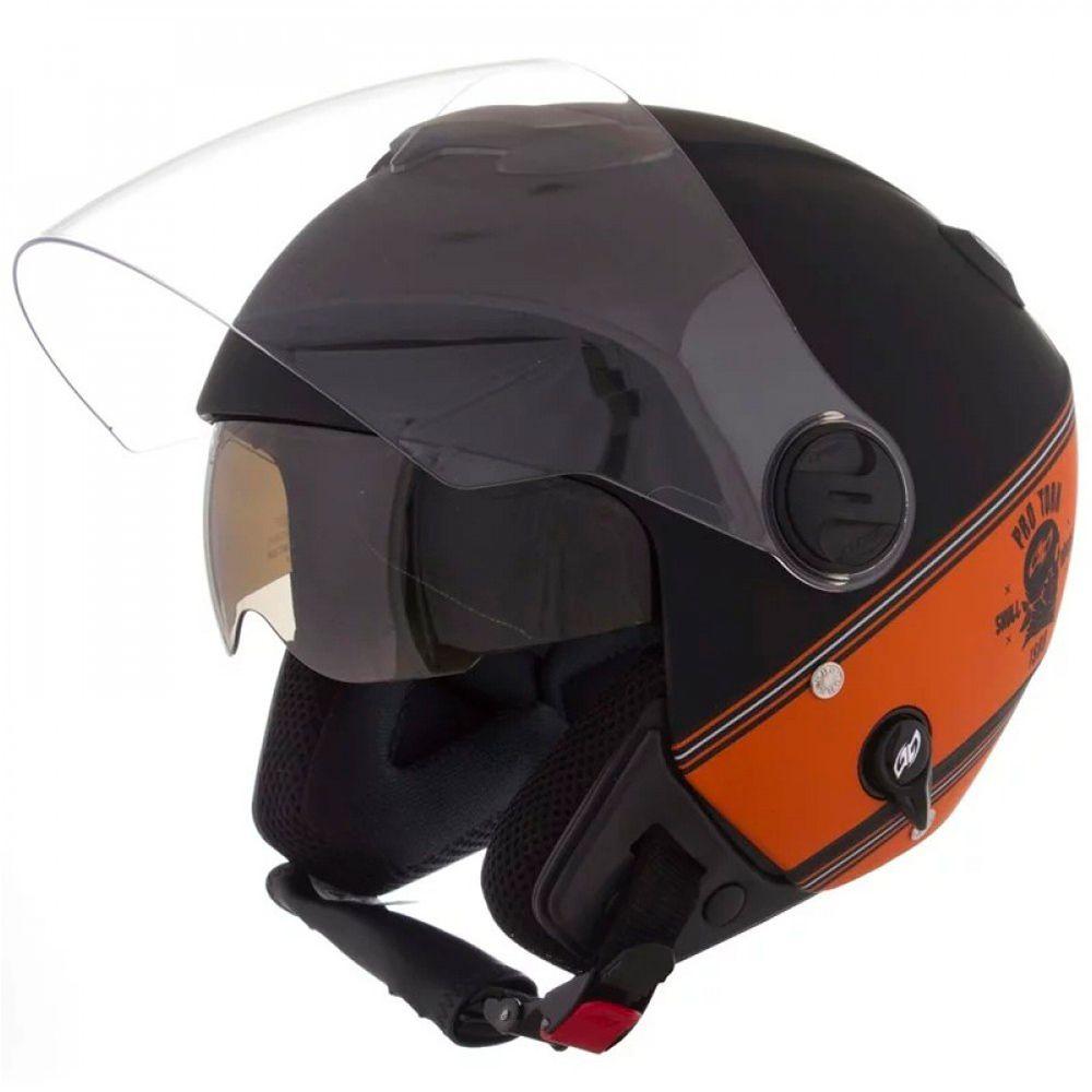 Capacete New Atomic Skull Riders Preto e Laranja Tamanho 60 Pro Tork - CAP-436PTLRF