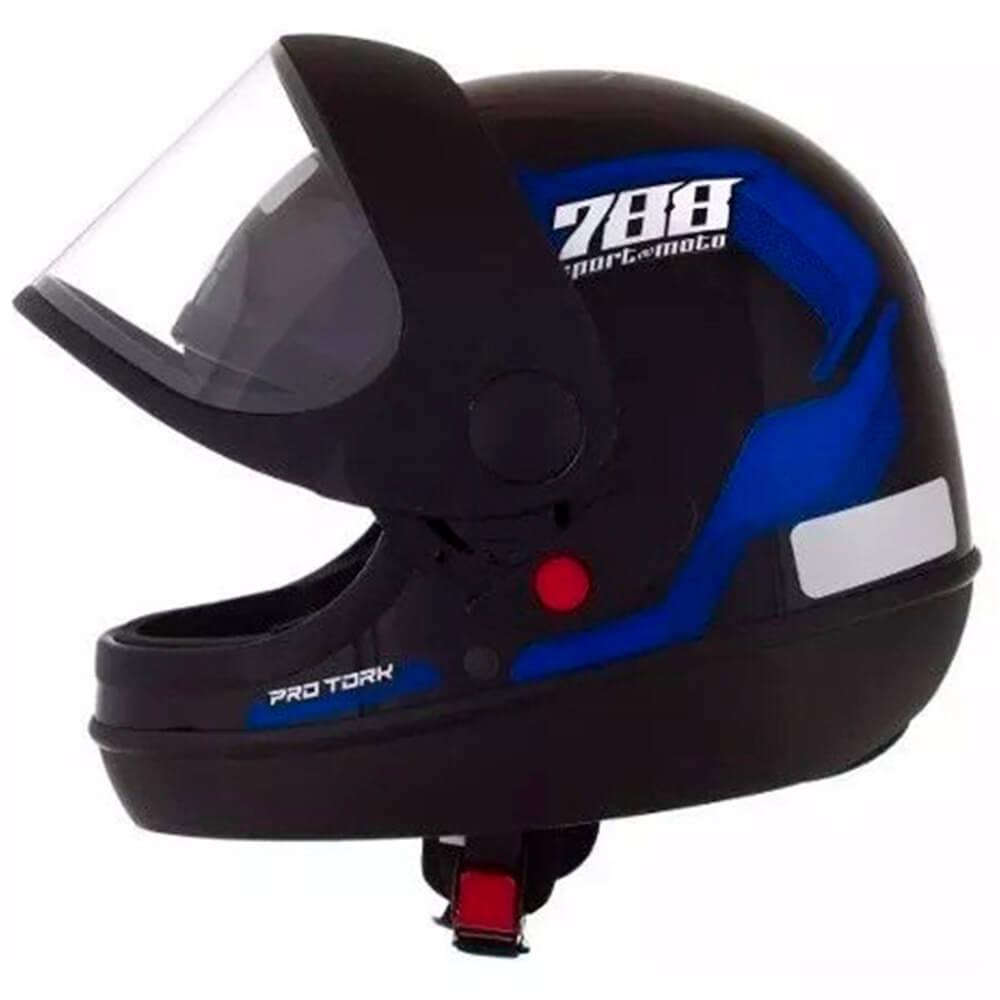 Capacete Sport Moto 788 Preto e Azul Tamanho 58 CAP-495AZ - Pro Tork