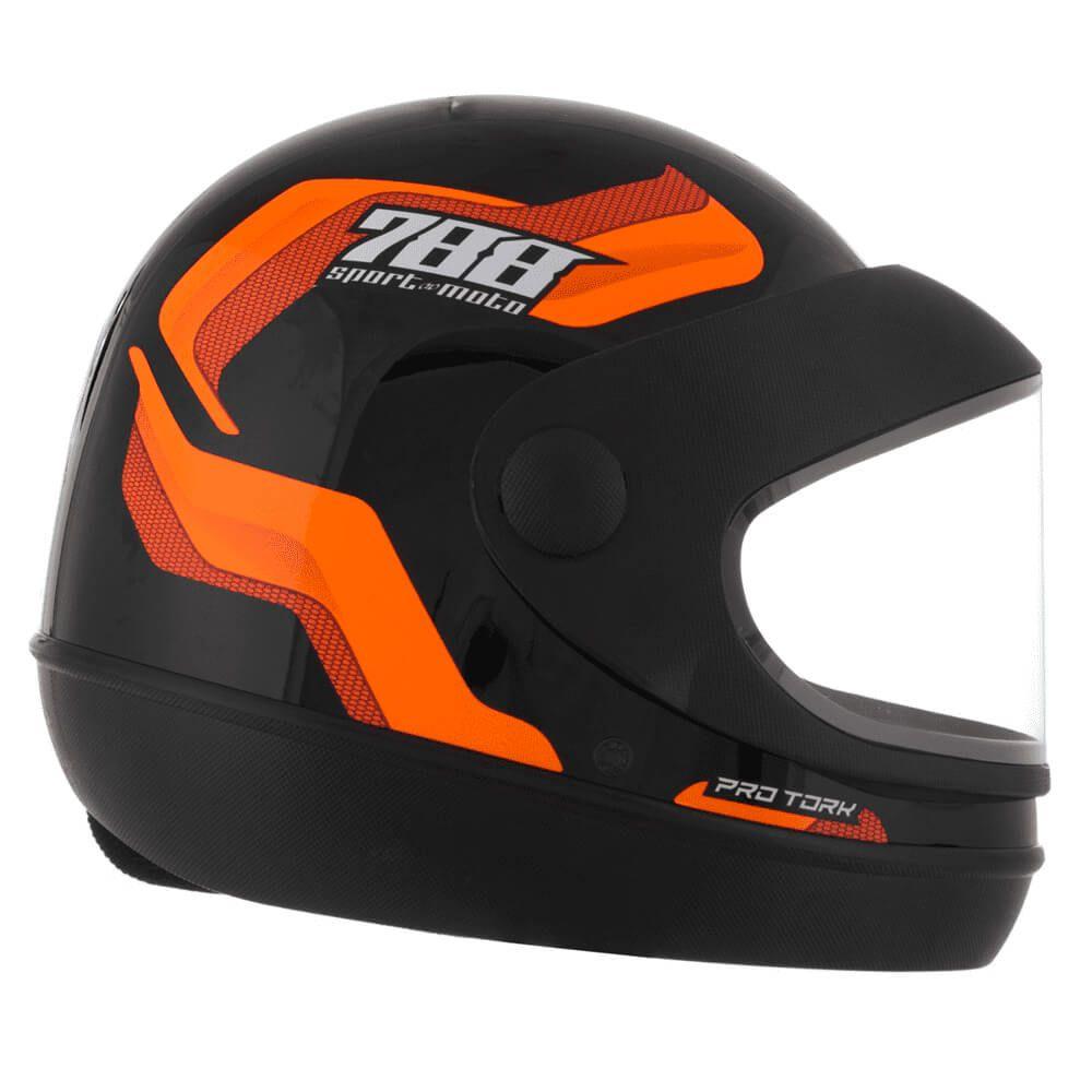 Capacete Sport Moto 788 Preto e Laranja Tamanho 58 Pro Tork - CAP-495LR