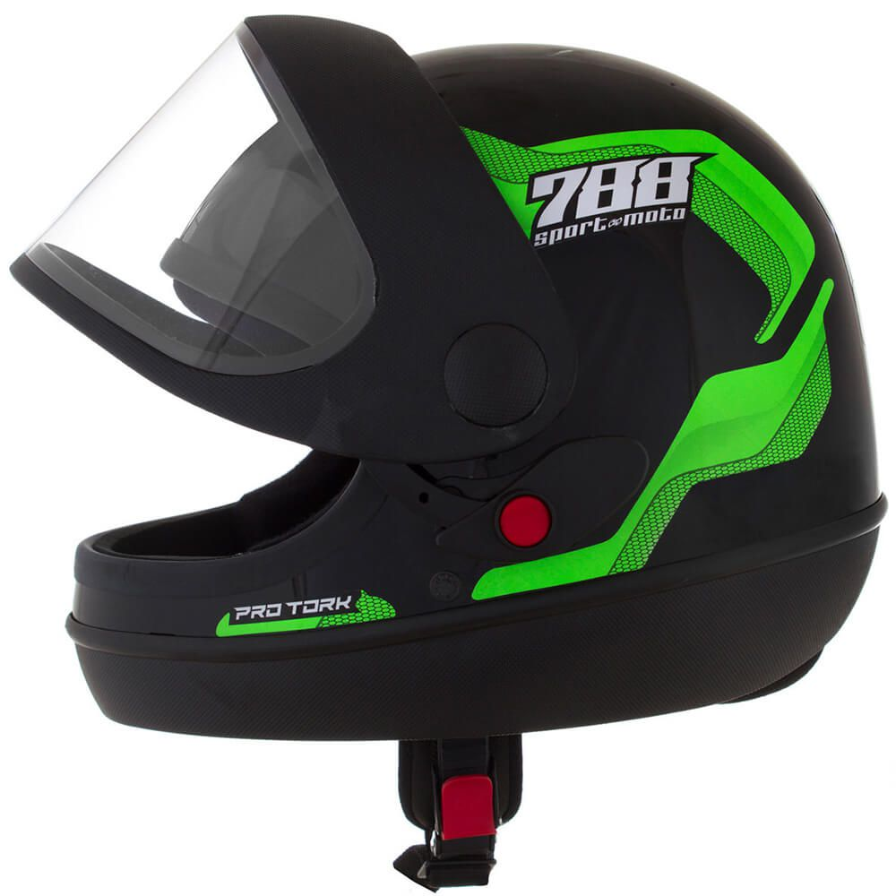 Capacete Sport Moto 788 Preto e Verde Tamanho 58 Pro Tork - CAP-495VD