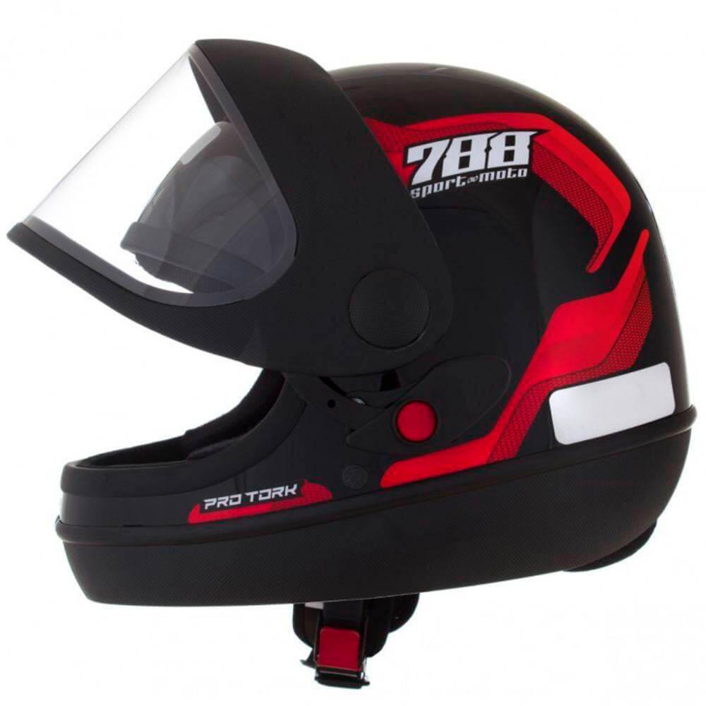 Capacete Sport Moto 788 Preto e Vermelho Tamanho 58 Pro Tork - CAP-495VM