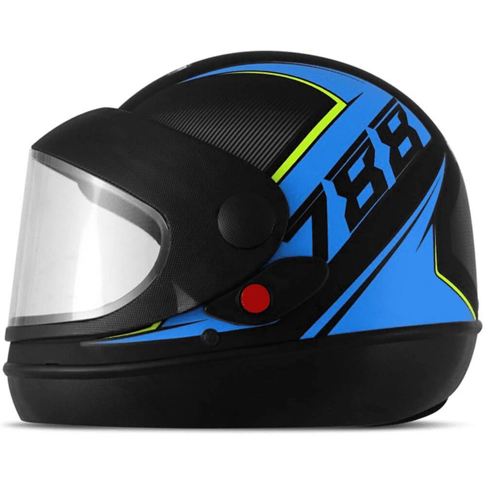 Capacete Super Sport Moto 2019 Azul Fundo Preto Fosco Tamanho 60 Pro Tork - CAP-642AZ