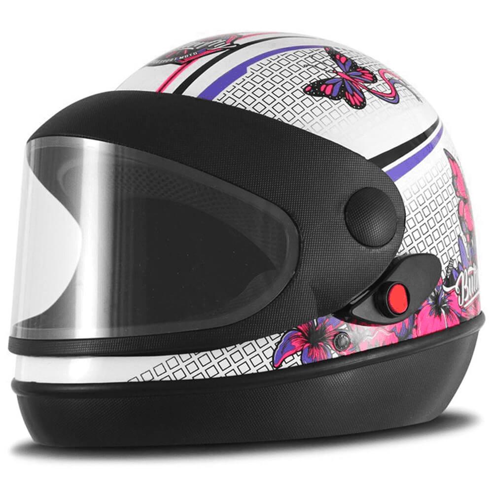 Capacete Super Sport Moto Butterfly Fundo Branco Brilhante Tamanho 58 Pro Tork - CAP-647BC