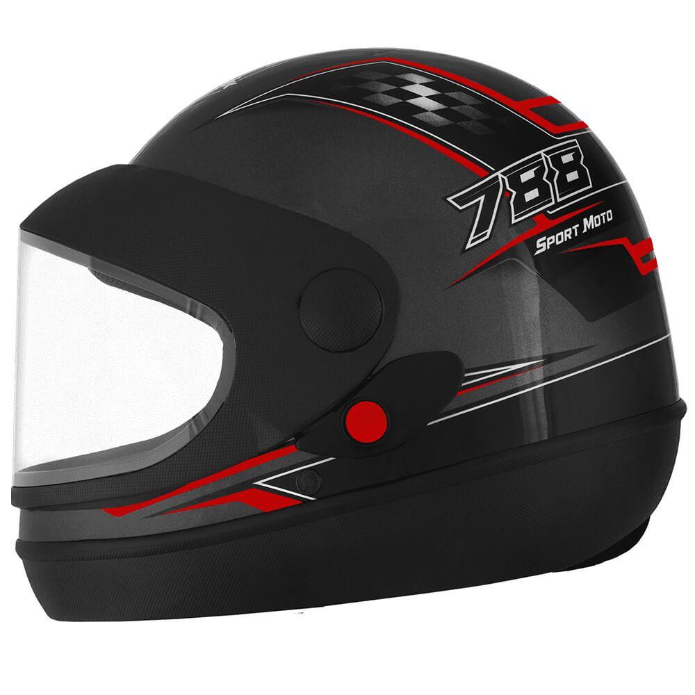 Capacete Super Sport Moto Grafite e Vermelho Fundo Grafite Tamanho 58 Pro Tork - CAP-632GRVM