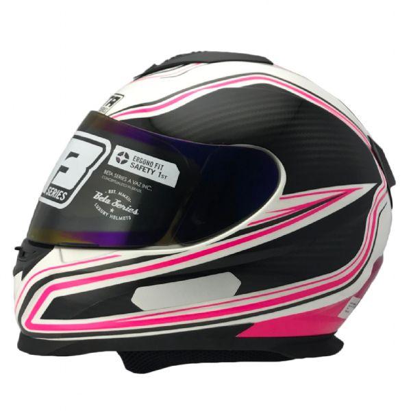 Capacete Vaz V15 60E Branco Galaxy Pink com Preto
