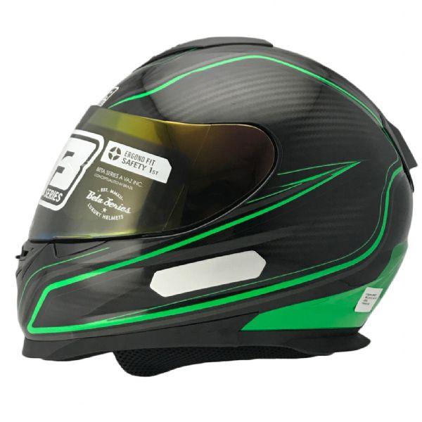 Capacete Vaz V15 60E Preto Brilhante Galaxy Verde com Preto