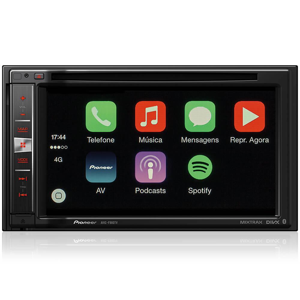Central Multimidia Pioneer AVIC-F980TV 2DIN 6 Polegadas/GPS/Bluetooth/USB/Android/Mixtrax/TV