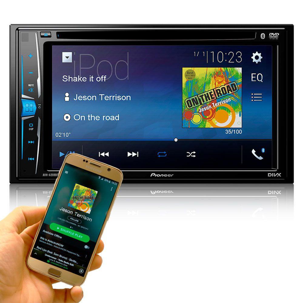 DVD Player Pioneer AVH-A208BT 2DIN 6.2 Polegadas/Touch Screen/Bluetooth/USB/FM/CD/DVD