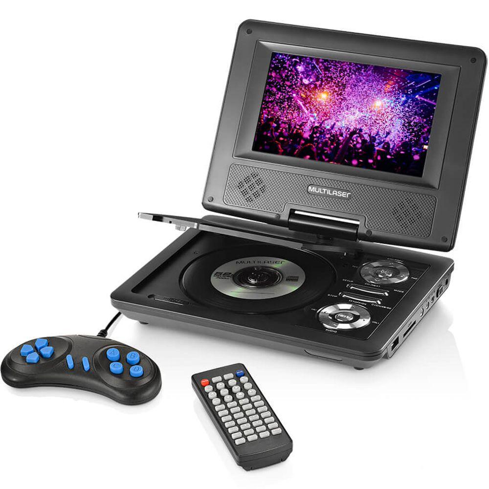 DVD Player Portátil 7 Polegadas Tela Rotativa 270 USB Multilaser - AU710