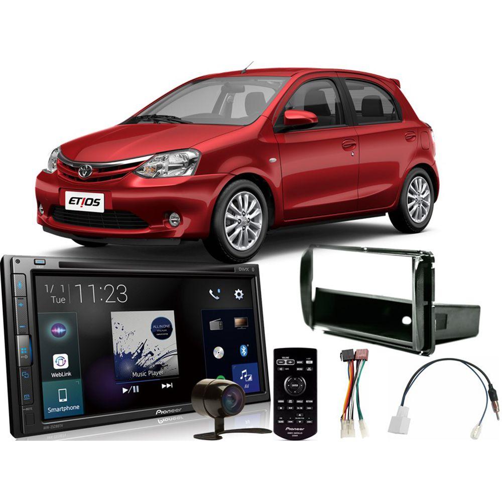 Kit DVD Player Toyota Etios 2013 a 2019 AVH-Z5280TV Pioneer + Câmera de ré + Moldura 2din + Chicotes