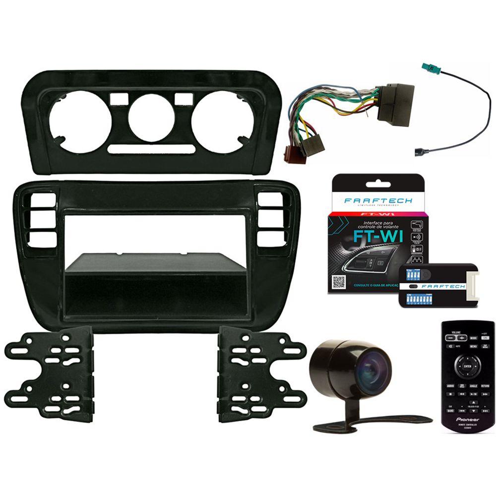 Kit DVD Player Volkswagen UP 2014 a 2017 AVH-Z5280TV Pioneer + Moldura 2din + Câmera de ré + Chicotes + Interface