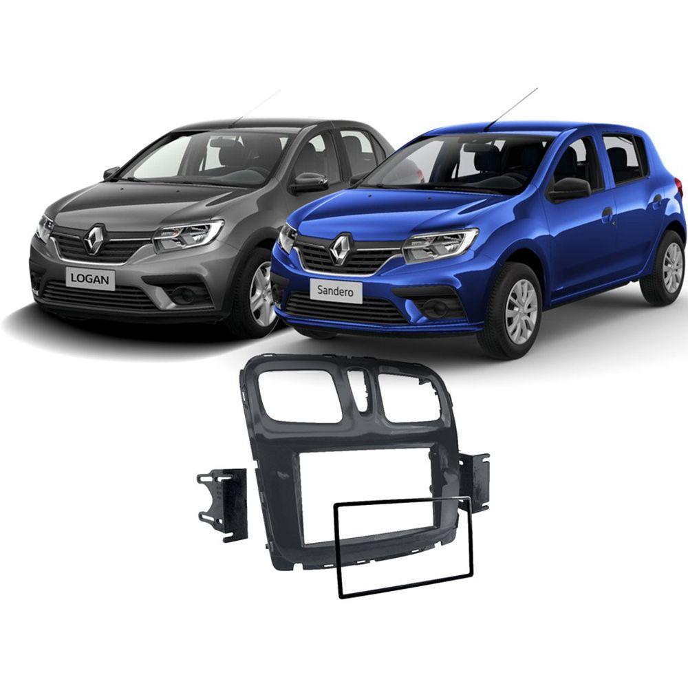 Moldura 2 Din painel porta objetos Renault Logan e Sandero 2015 até 2020 - Black Pianno EPX482 JP/CH