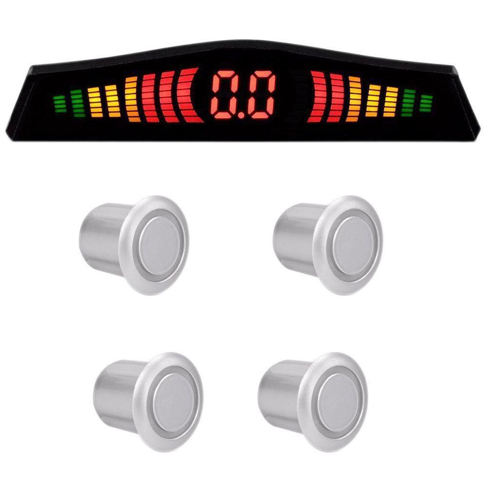 Sensor de estacionamento Multilaser 4 sensores display 18.5mm Prata/Cinza (AU019)