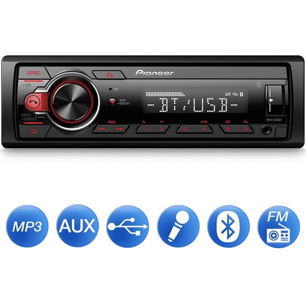 Som Automotivo MVH-S218BT Pioneer 1DIN MP3 USB BT Frente destacável AM FM AUX RDS