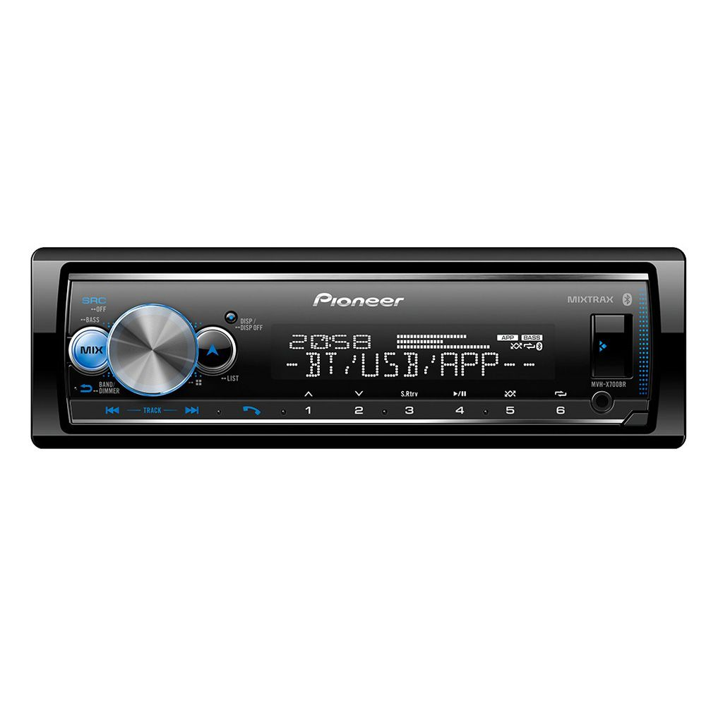 Som Automotivo MVH-X700BR Pioneer Media Receiver 1 Din USB BT Equalizador Android