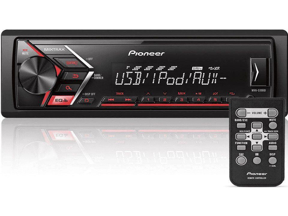 Som Automotivo Pioneer MVH-S108UI 1DIN FM USB MP3 sem mecanismo Mixtrax