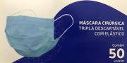 Máscara Cirúrgica Tripla Descartável com Elástico Medway com 50 unidades Cor Azul
