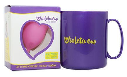 Kit Coletor Menstrual com Caneca Higienizadora Violeta Cup Tipo A Rosa
