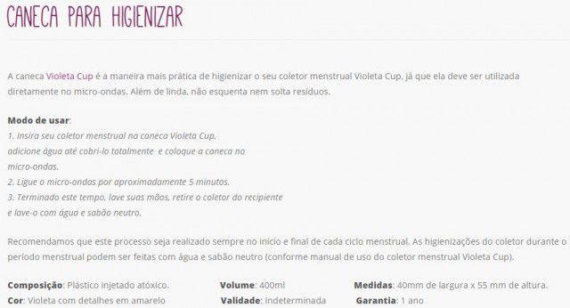 Kit Coletor Menstrual com Caneca Higienizadora Violeta Cup Tipo B Transparente