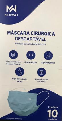 Máscara Cirúrgica Descartável Medway com 10 unidades Cor Azul