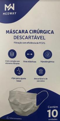 Máscara Cirúrgica Descartável Medway com 10 unidades Cor Branca