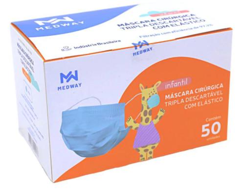 MASCARA CIRÚRGICA DESCARTÁVEL TRIPLA INFANTIL C/ ELÁSTICO C/50 BRANCA MEDWAY