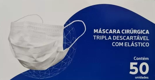 Máscara Cirúrgica Tripla Descartável Medway com 50 unidades Cor Preta