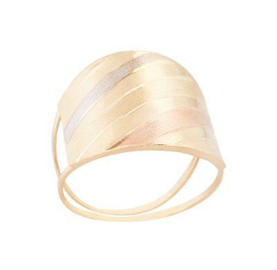 Anel Diamantado Três Cores Banhado a Ouro 18K