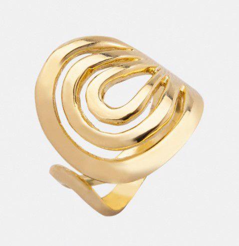 Anel Circulo Espiral Aberto Banhado a ouro 18K