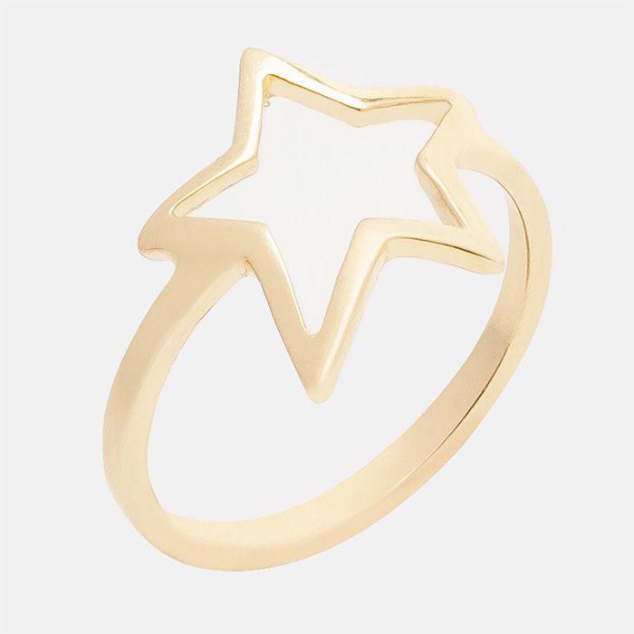 Anel Estrela Vazada Banhado a ouro 18K
