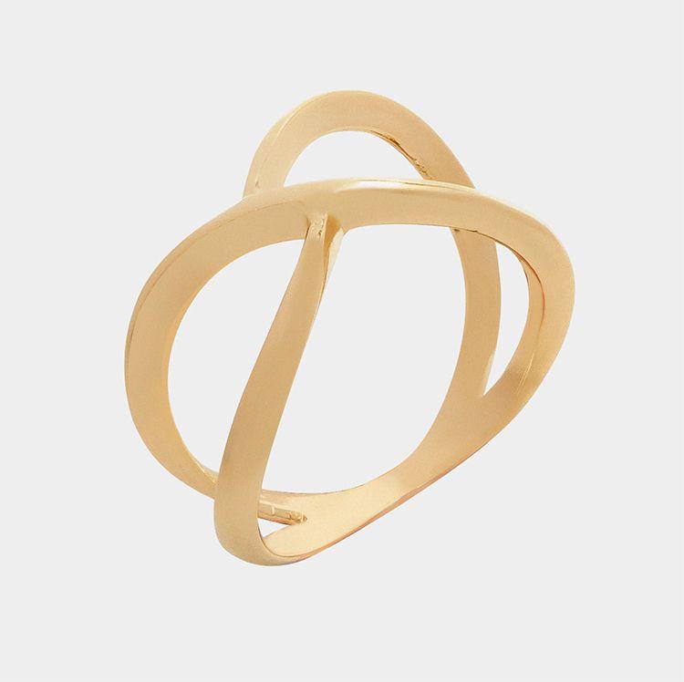 Anel Infinito Abstrato  Banhado  a Ouro 18K