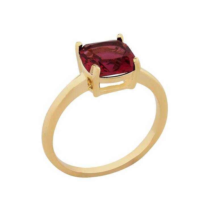 Anel Pedra De Vidro Rubi Vermelho Banhado  a Ouro 18K