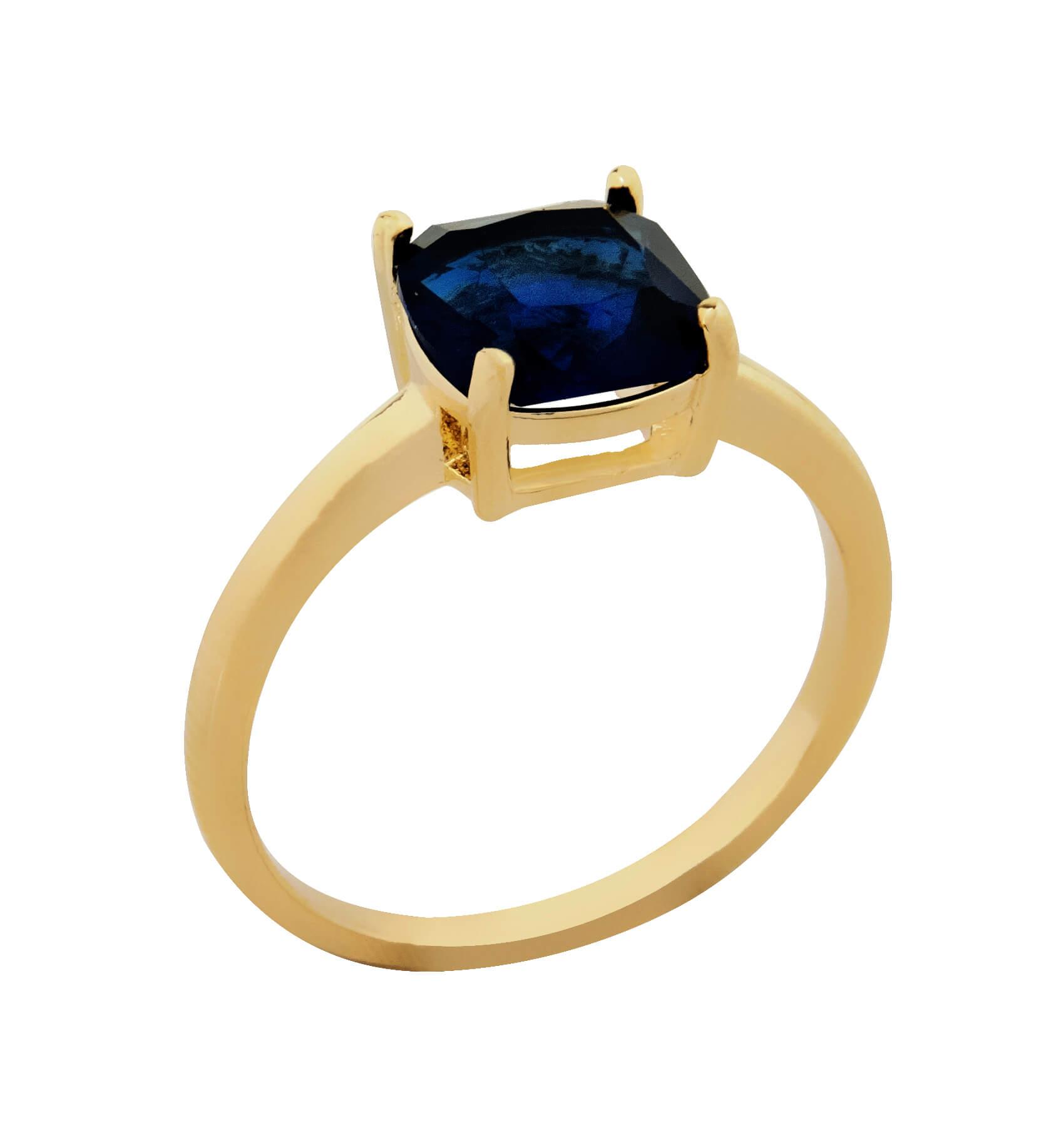 Anel Pedra De Vidro Safira Azul Banhado  a Ouro 18k