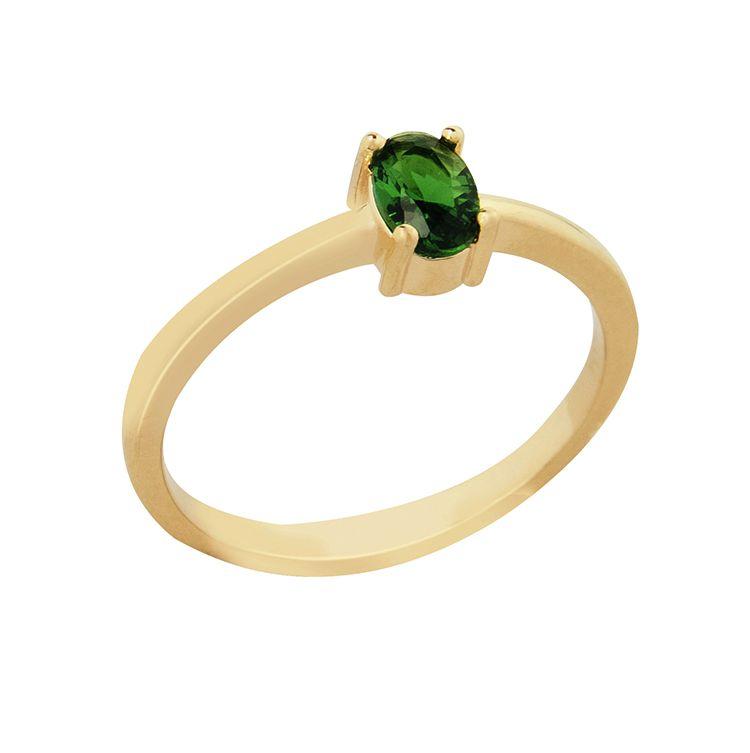 Anel Pedra Oval Esmeralda Verde Banhado  a Ouro 18K
