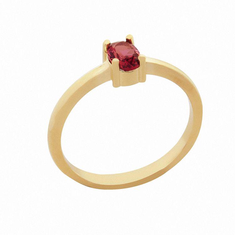 Anel Pedra Oval Rubi Vermelho Banhado  a Ouro 18k