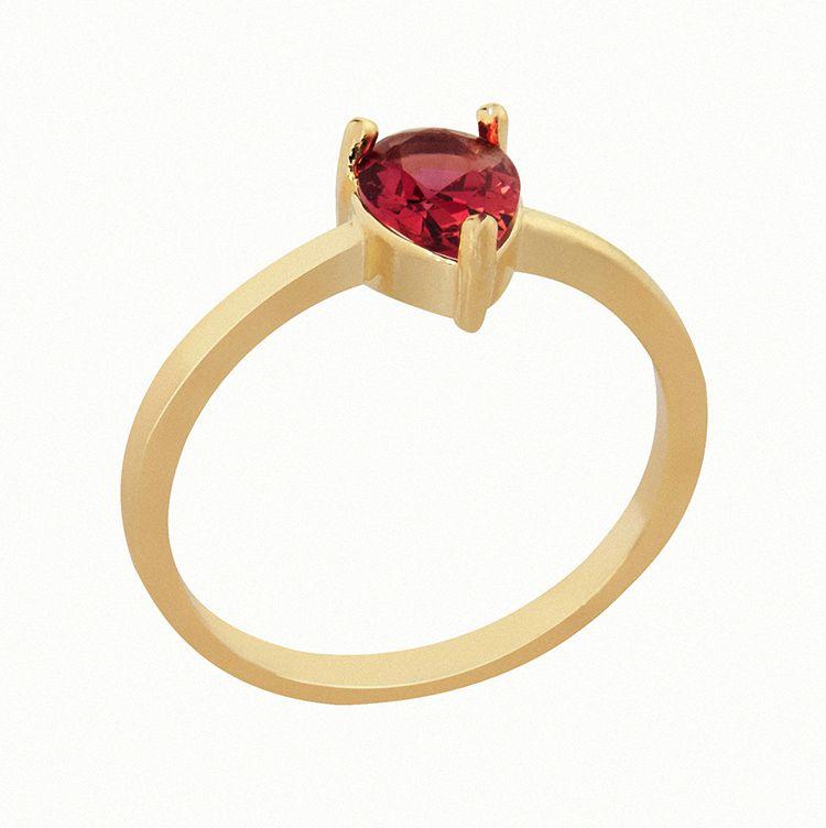 Anel Pedra Vidro Gota Rubi Vermelho Banhado  a Ouro 18k