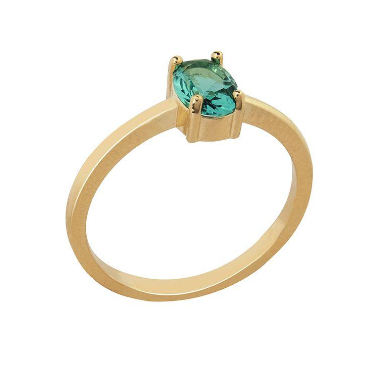 Anel Pedra Vidro Oval Turmalina Verde Banhado a Ouro 18K