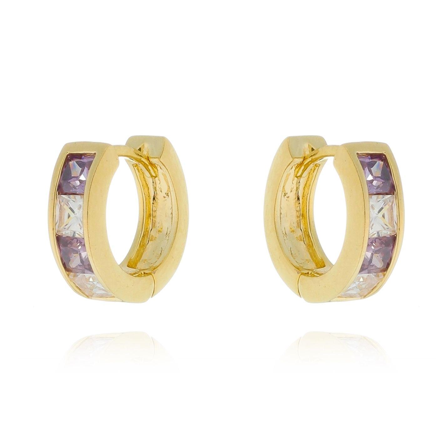 Brinco Argolinha Luxo Zirconia Cravejada Violeta Banhado a Ouro 18K