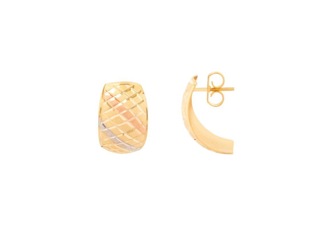 Brinco Baulado Diamantado Pequeno Três Cores Banhado a Ouro 18k